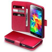 Qubits Fodral till Galaxy S5r perfekt fr dig som vill ha ett snyggt Fodral som inte bara ser fantastiskt snyggt ut utan ven skyddar din dyrbara telefon. Qubits Fodral skyddar bde fram och baksidan av din telefon mot repor, smuts och tappskador. Qubits Samsung Galaxy S5 Real Leather Wallet Case - Red