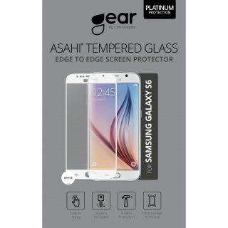 GEAR Härdat Glas 3D Full Cover Vit Samsung S6