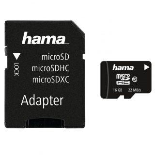 HAMA Minneskort MicroSDHC 16GB Class 10 22MB/s Adapter