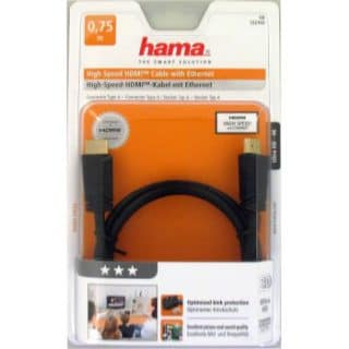 HAMA Kabel HDMI High Speed Guld Svart 0.75m