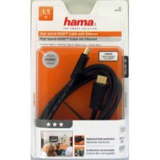 HAMA Kabel HDMI High Speed Guld Svart 1.5m