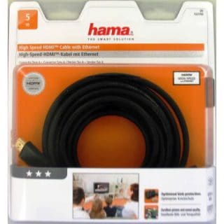 HAMA Kabel HDMI High Speed Guld Svart 5.0m