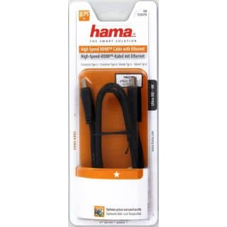 HAMA Kabel HDMI High Speed Svart 0.75m