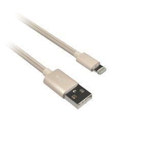 KIT KIT Premium Synkkabel Lightning 1m Flätad Kabel Guld MFI