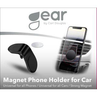 GEAR Magnetisk Mobilhållare Svart Vinklad Klämma Fläktgaller