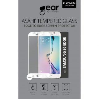 GEAR Härdat Glas 3D Full Cover Vit Samsung S6 Edge