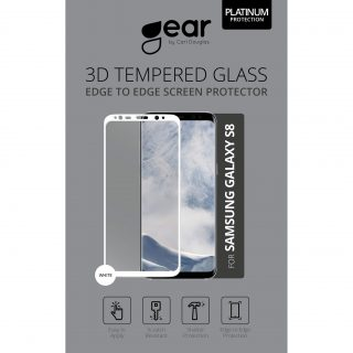 GEAR Härdat Glas 3D Full Cover Vit Samsung S8