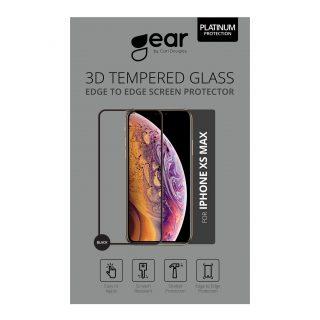GEAR Härdat Glas 3D Gum Full Cover Svart iPhoneXs Max/11 Pro Max Incl. Monteringsram